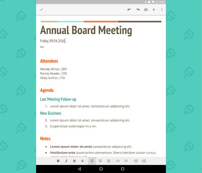 Google Docs - Android Tablet