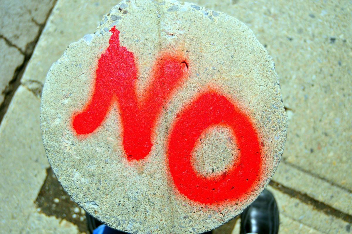 just say no concrete pavement graffiti vandal spray paint