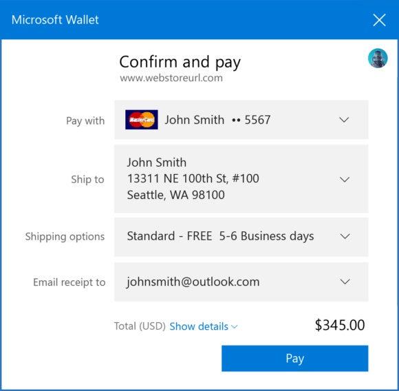 microsoft wallet ui