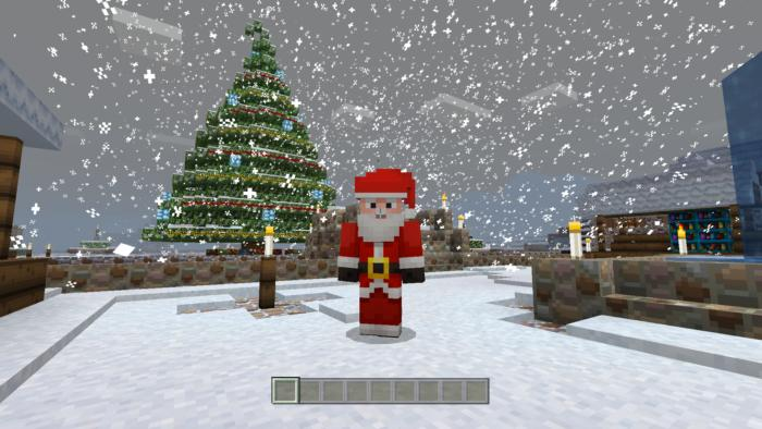 Minecraft Christmas Houses.Minecraft Apple Tv Edition Review Block Building On The Big