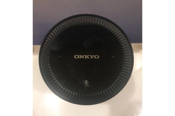 Top view of Onkyo's VC-FLX1 wireless speaker with Alexa.
