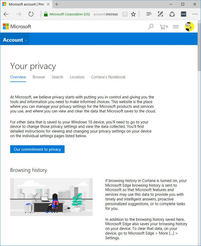 Microsoft account privacy webpage