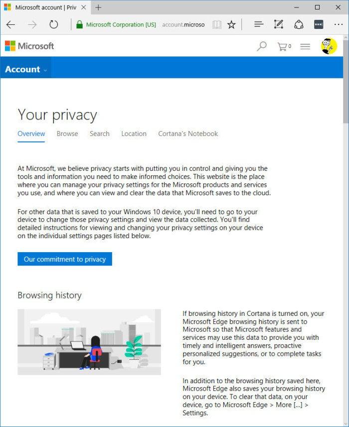 Microsoft account privacy webpage
