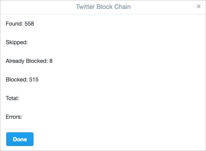 privatei twitter block chain count