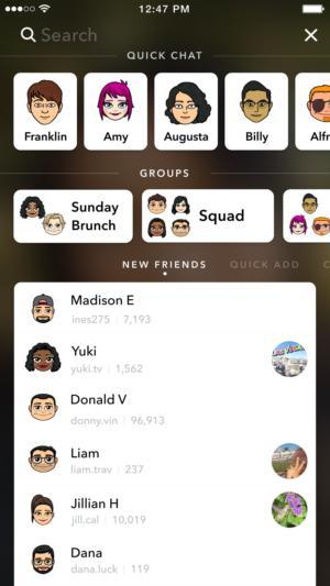 snapchat search bar