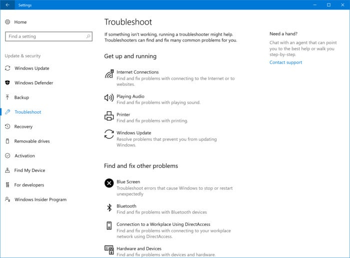 Windows 10 troubleshooters