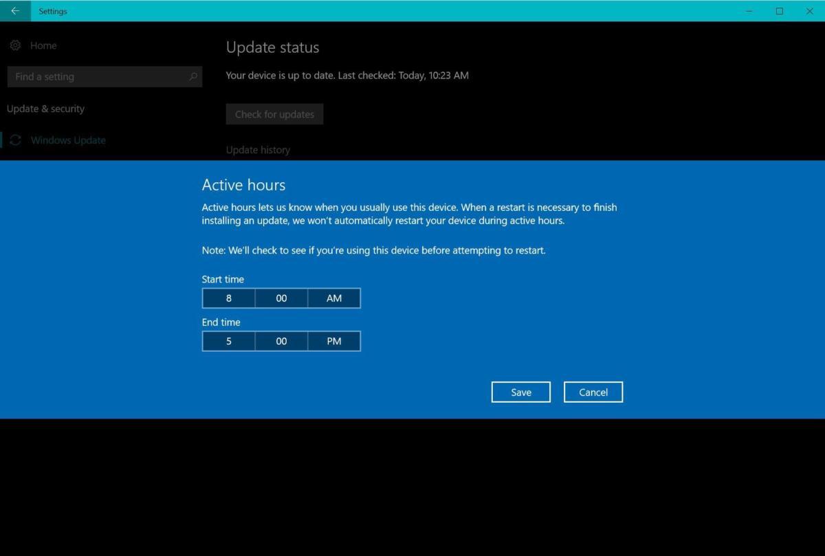 windows 10 cu active hours