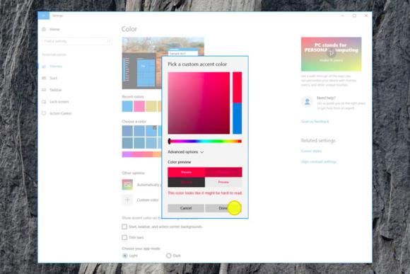 windows 10 cu custom accent color