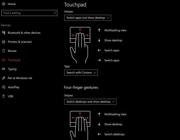 windows 10 cu touchpad