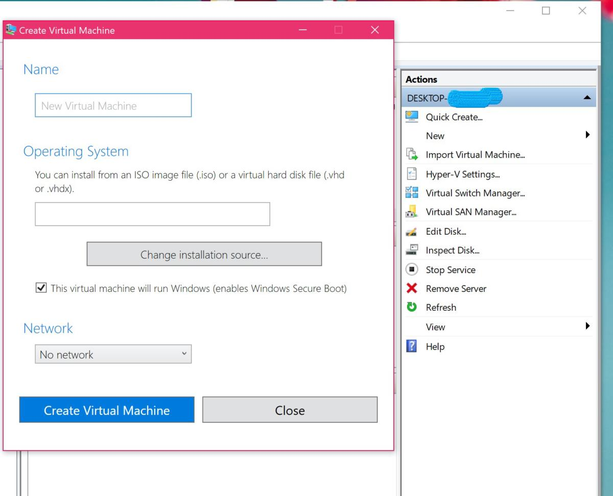 windows 10 hyper v vm quick create