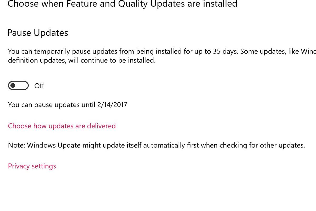 windows 10 pausable updates