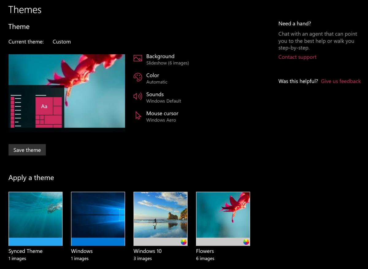 windows 10 personalization settings and themes