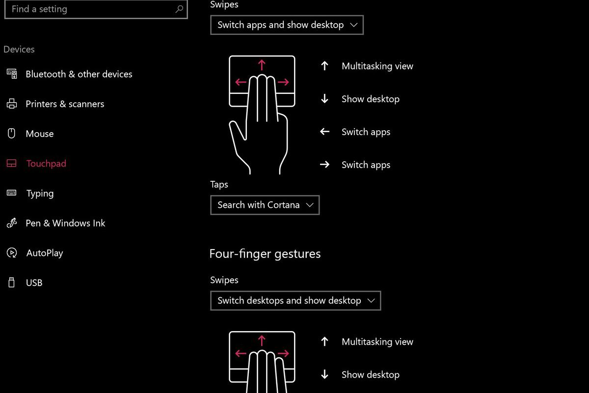 windows 10 touchpad settings and gestures