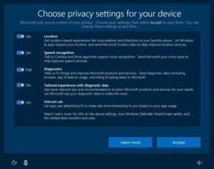 windows 10 upcoming privacy settings