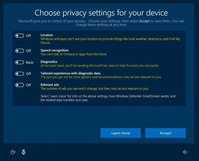 windows 10 39 s privacy settings will be simpler but more limited with creators 39 update pcworld. Black Bedroom Furniture Sets. Home Design Ideas
