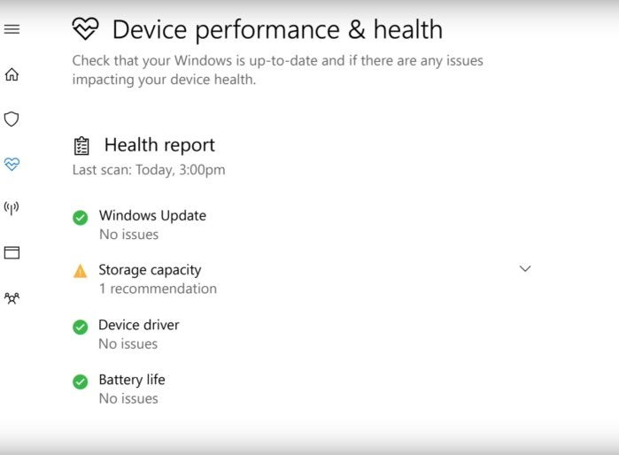 windows 10 windows defender device health