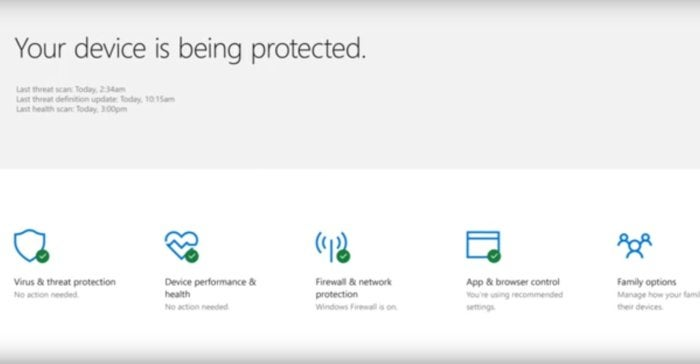 windows 10 windows defender security center dashboard