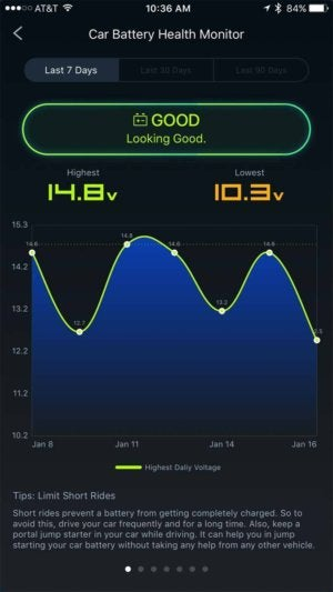 zus iphone car battery health monitor