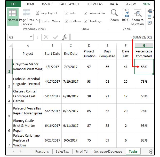 Excel-Prozentformeln: Prozentsatz der Summe, Prozent Erhöhung oder ...