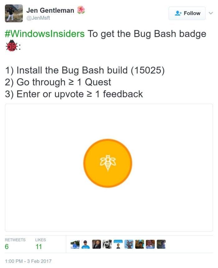 bug bash tweet