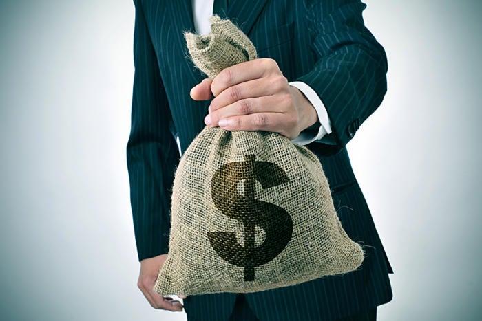 burlap money bag