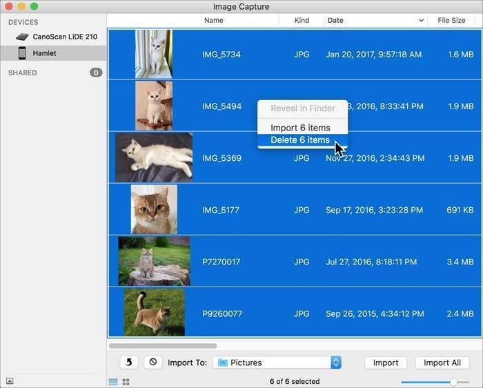 delete with image capture