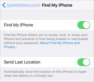 find my iphone app settings