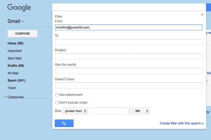 gmail filter one