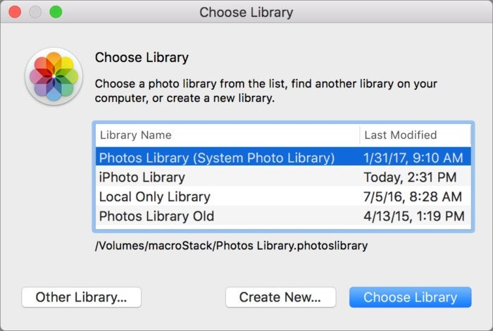 mac911 choose new system library photos