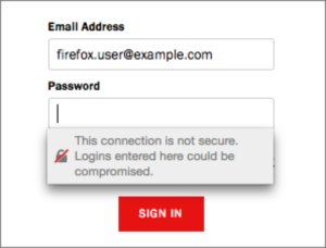 mozilla login with warning