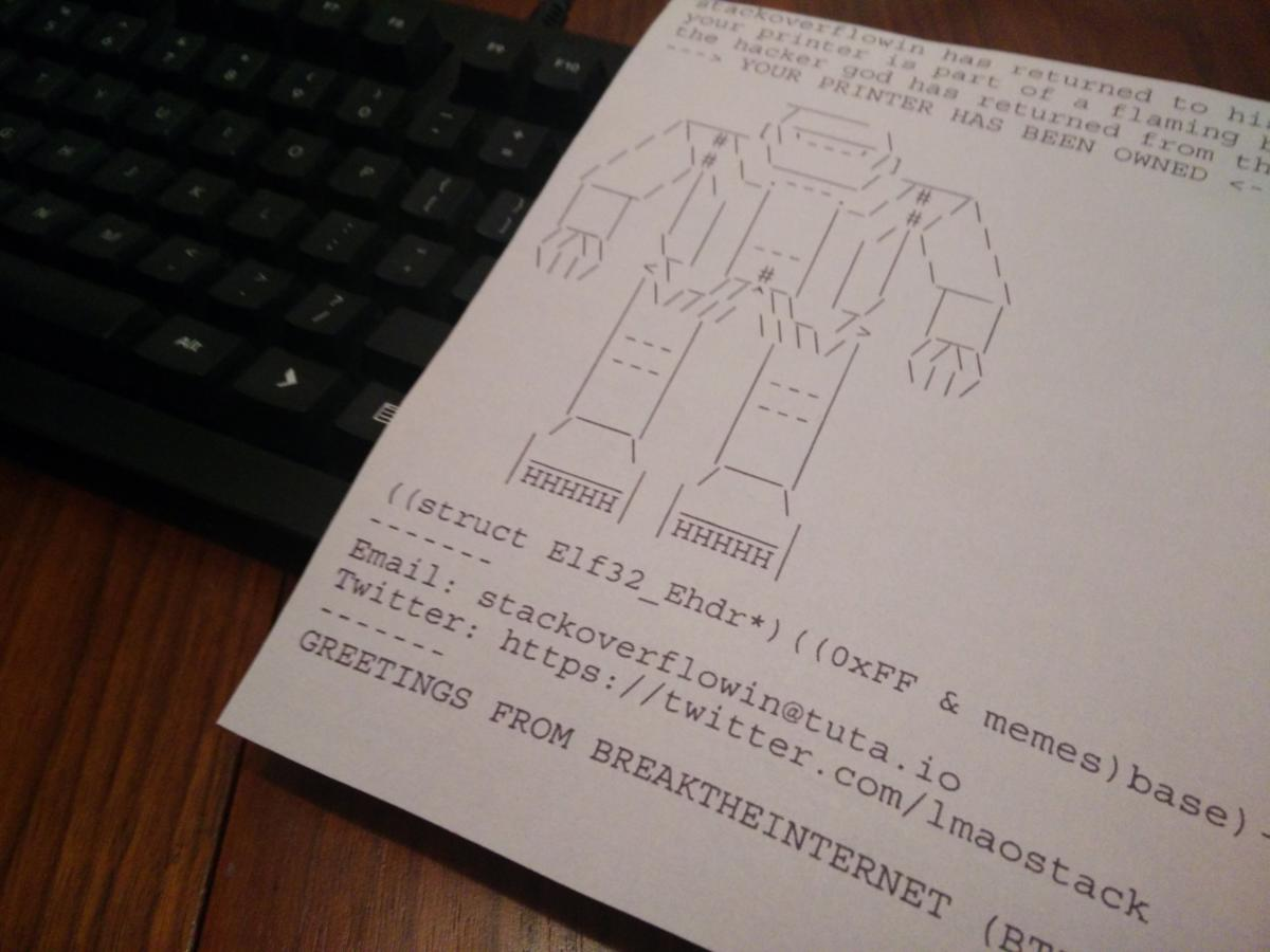 Hacker hijacks thousands of publicly exposed printers to