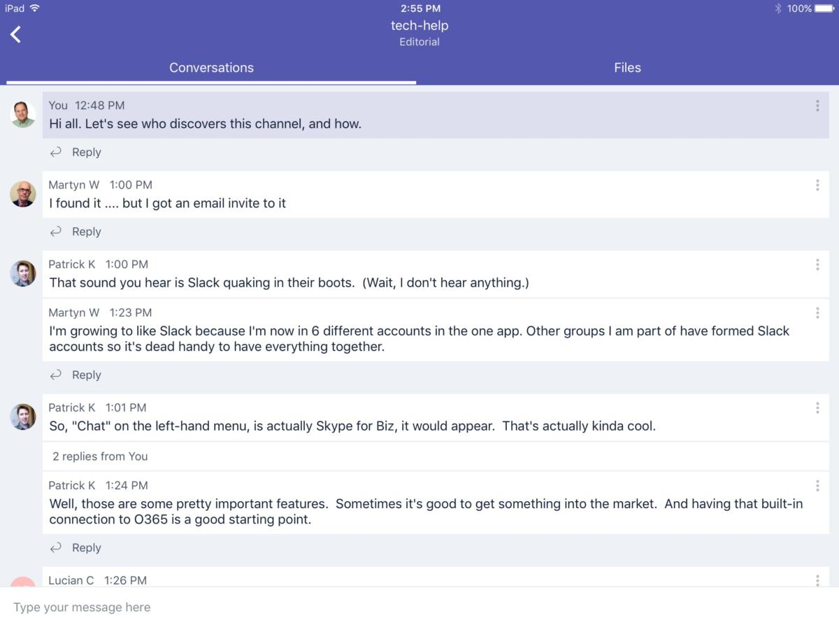 Microsoft Teams beta (iPad)
