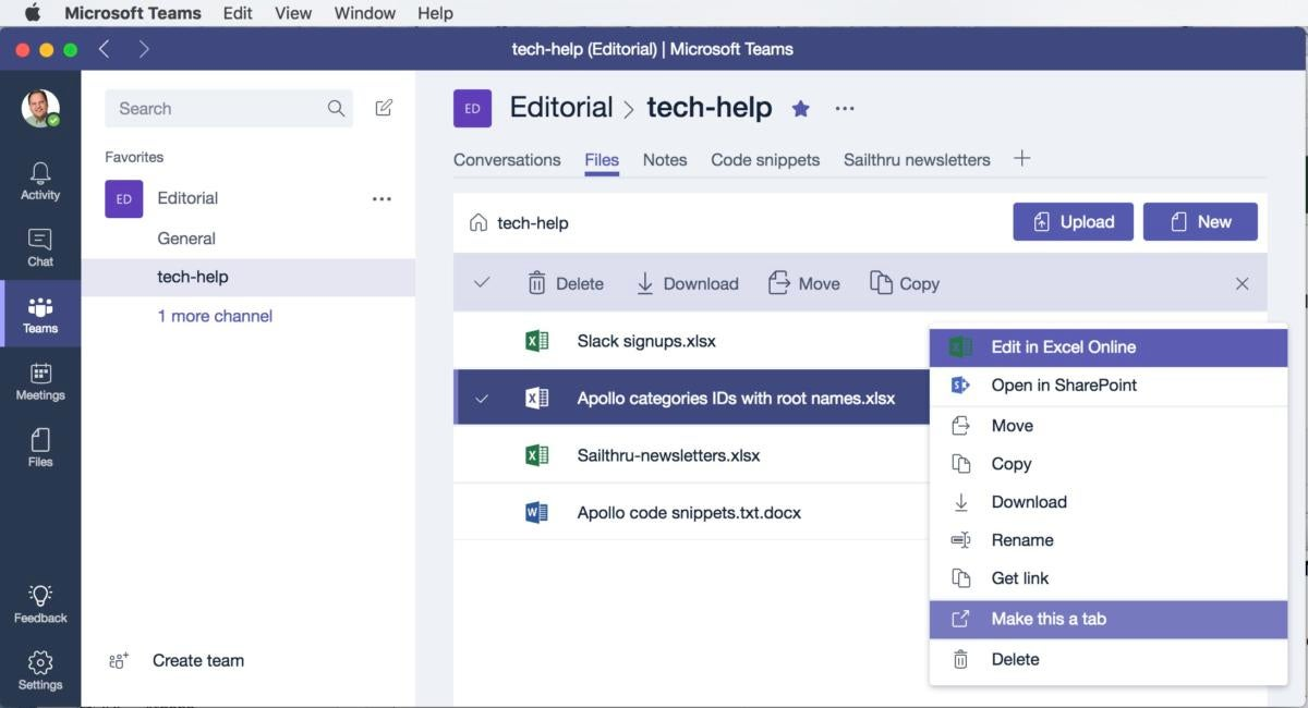 Microsoft Teams beta pinned files (Mac)