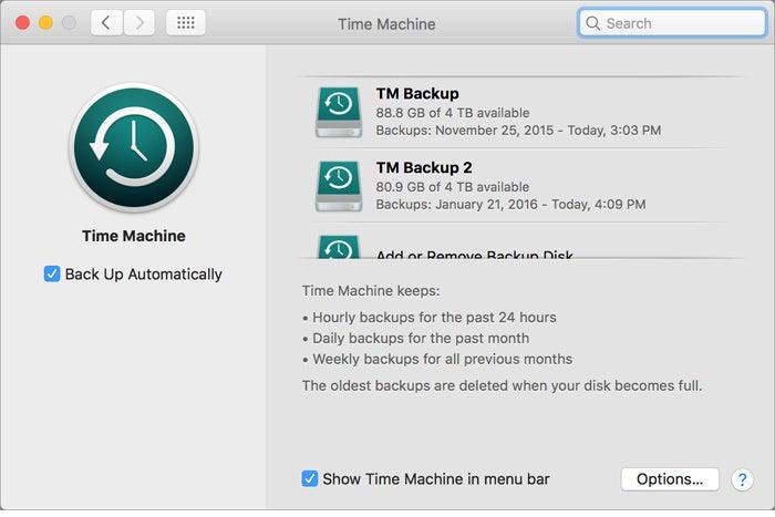 time machine screenshot