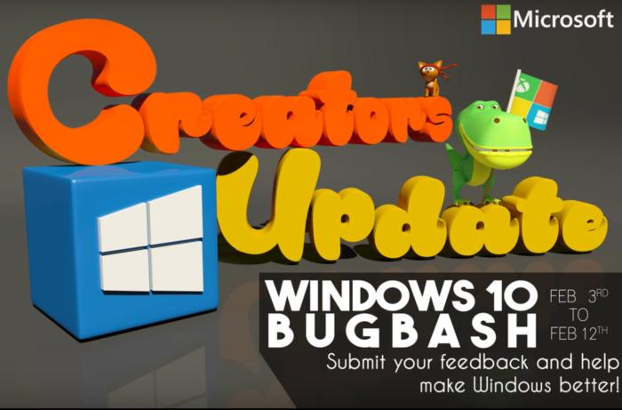 windows 10 creators update bug bash