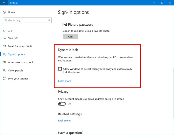 windows 10 cu dynamic lock