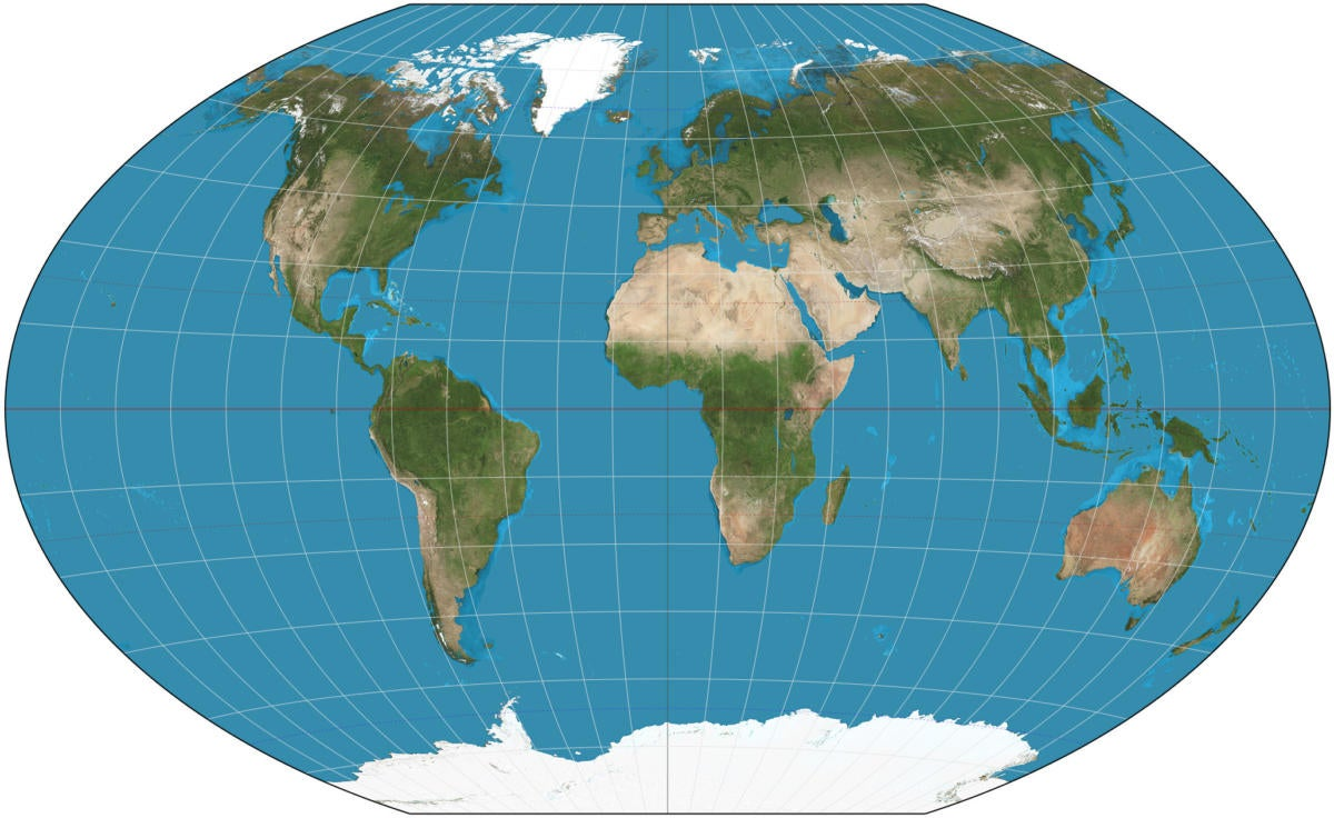 winkel triple projection world map