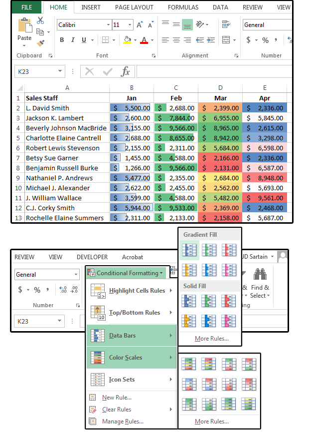 09 use data barscolor scales to spice up your spreadsheets