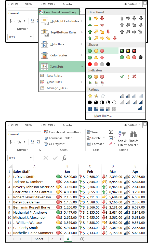 10 icon sets presets provide three fourfive levels of formatting copy