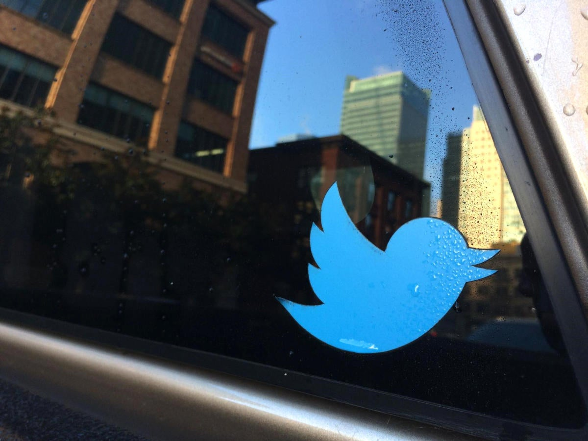 20170113 twitter car sticker stock image