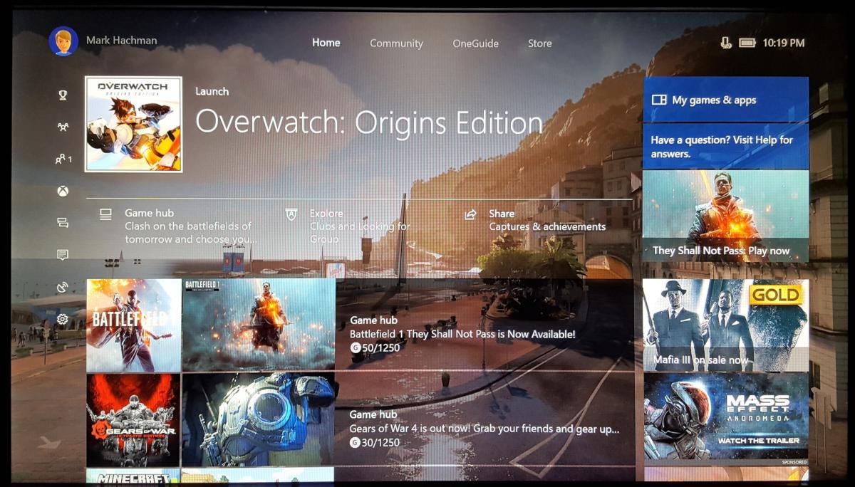 Windows 10 Creators Update Xbox One Guide Home