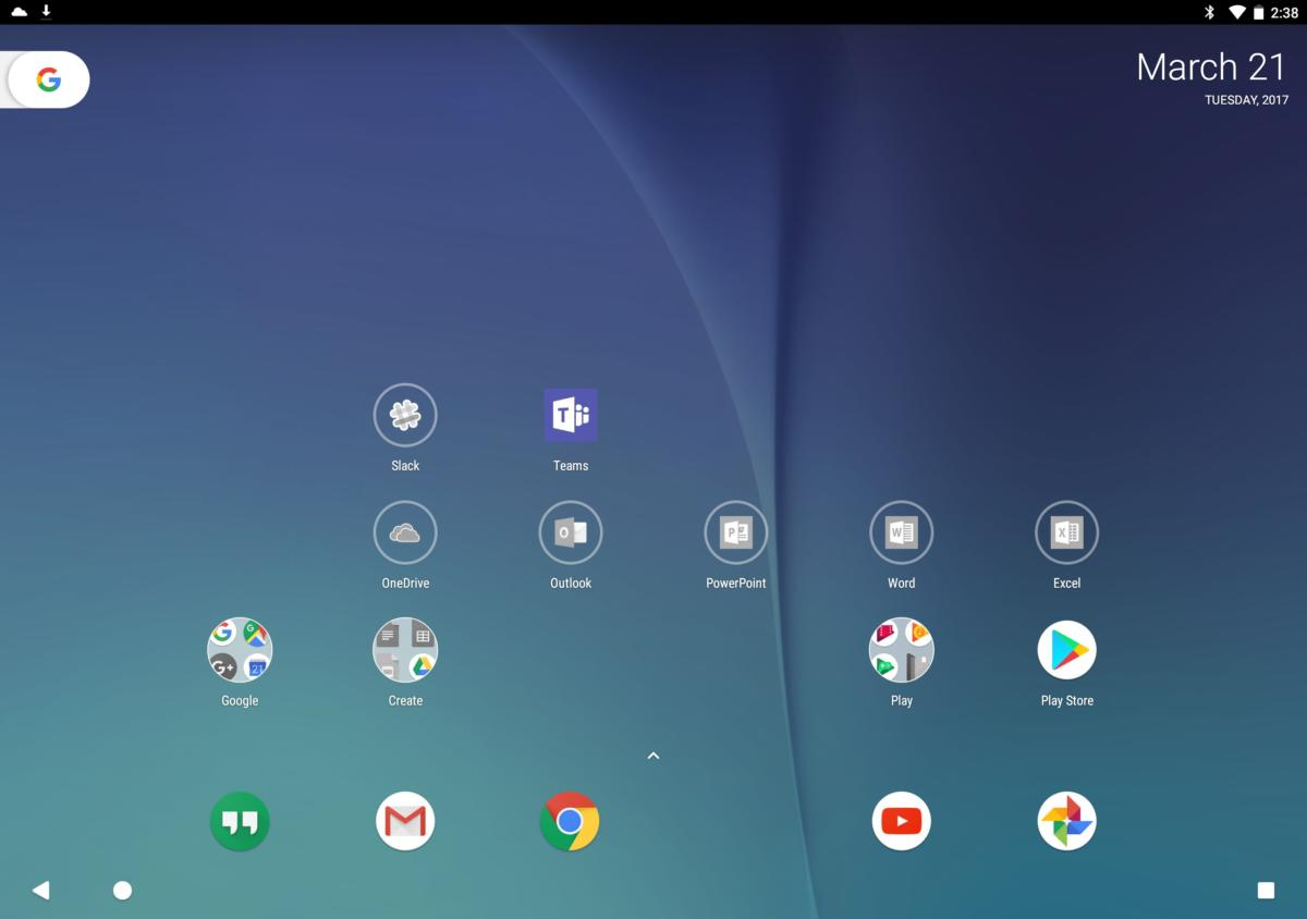 android o preview home screen