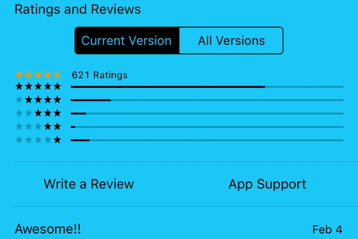 Write a review in-app
