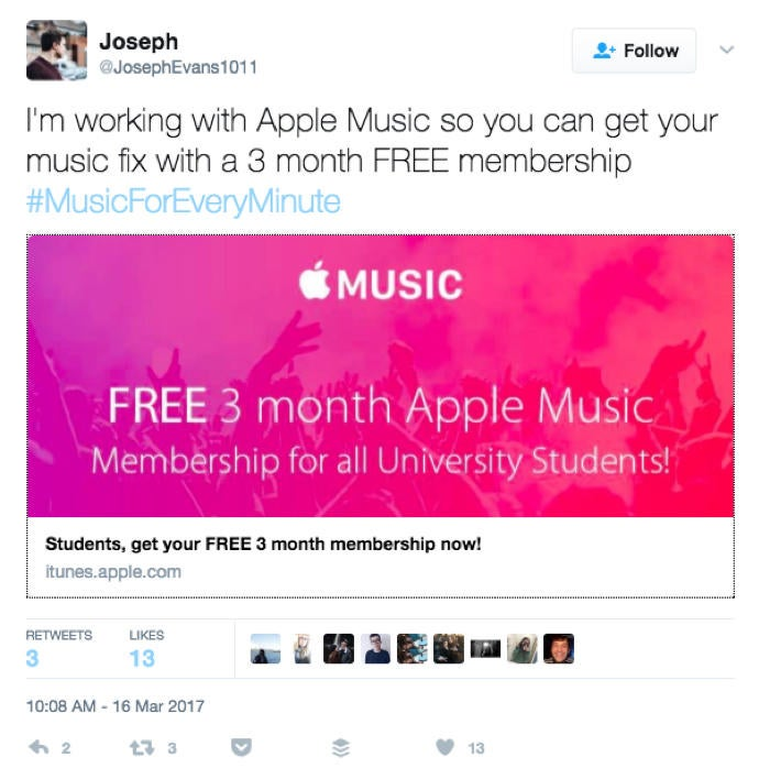 apple music ambassador tweet