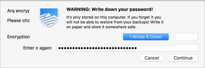 arq password warning write down