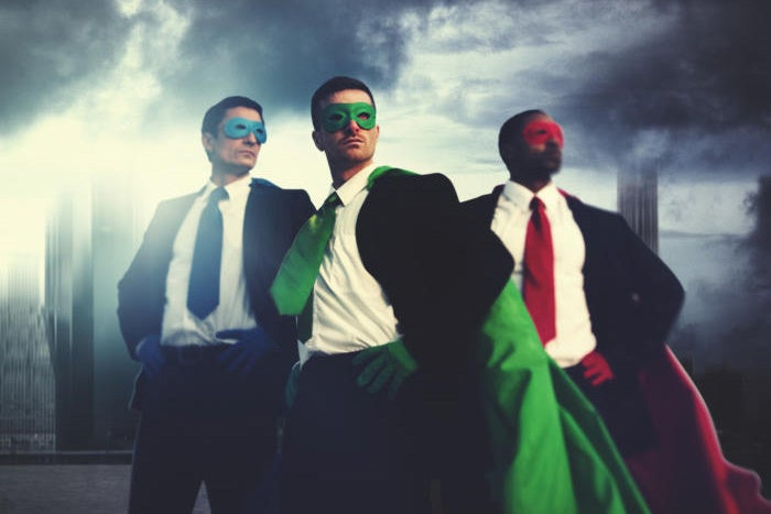 superheroes in suits