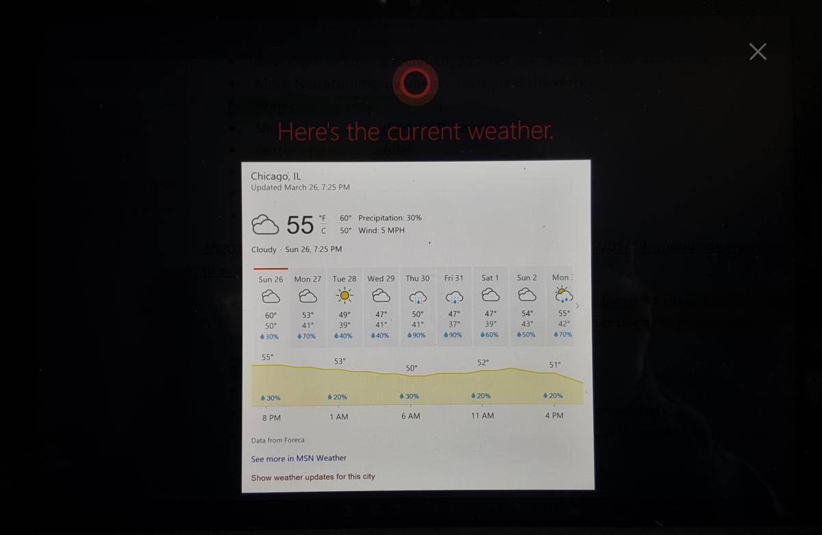 cortana full screen weather