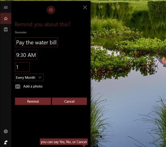 Windows 10 Creators Update cortana recurring monthly reminders