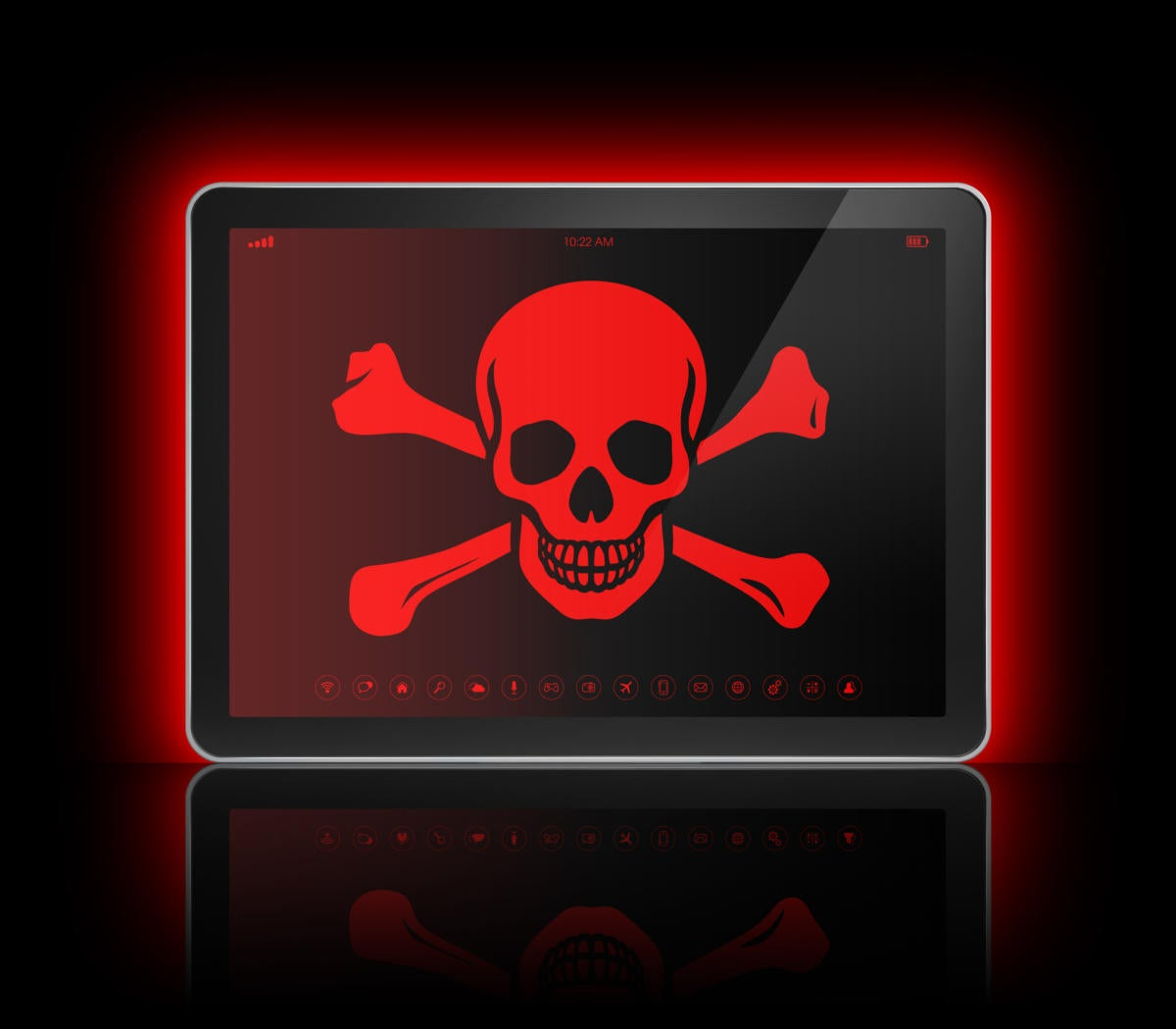 tablet with skull and crossbones cybersecurity