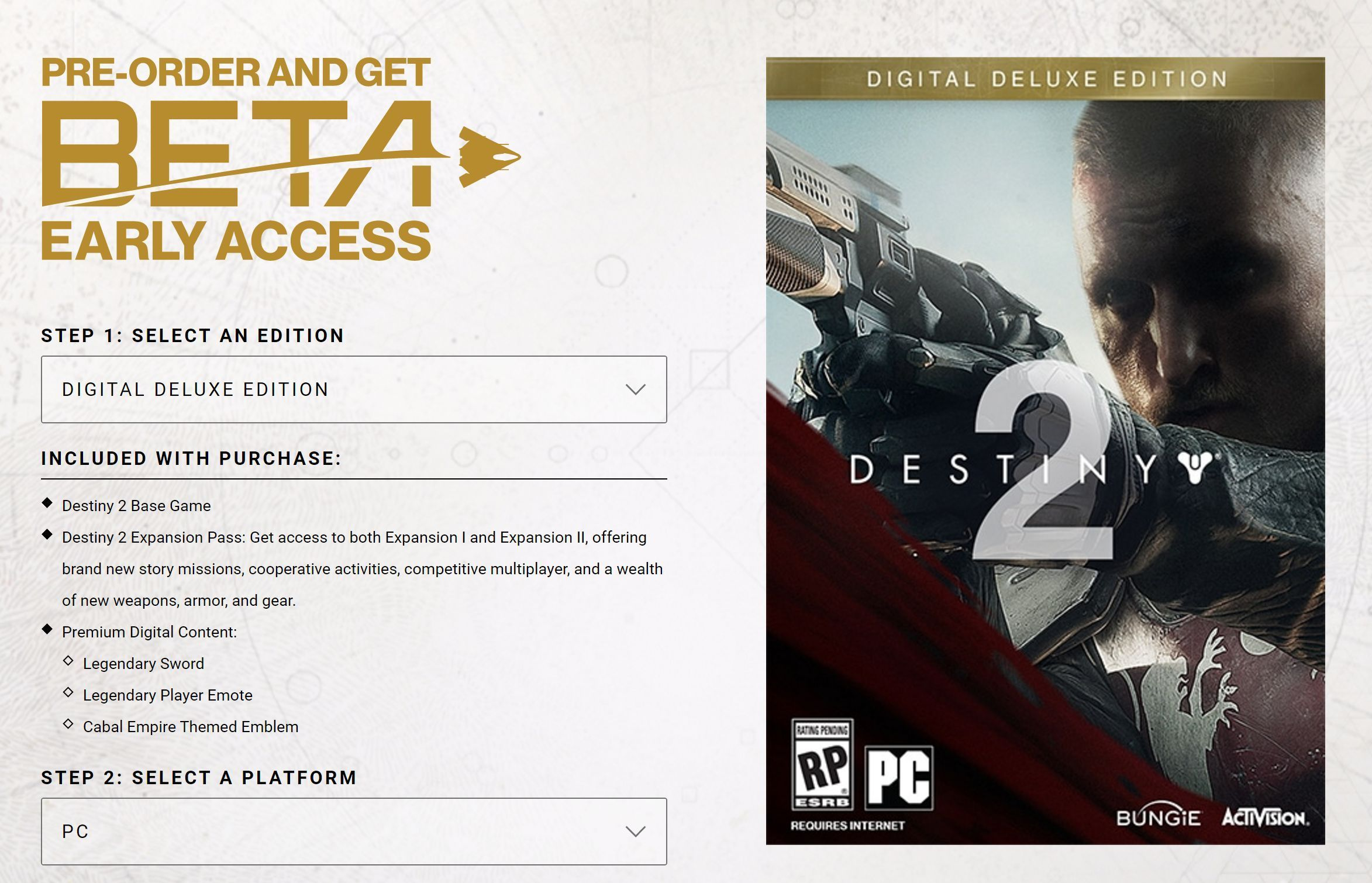destiny 2 digital deluxe edition pc how to get content